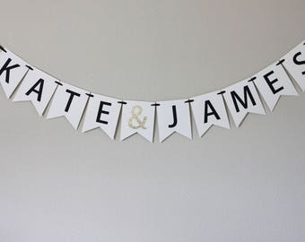 glitter gold engagement party decorations - bridal shower banner - personalized engagement decorations - engagement banner - name banner
