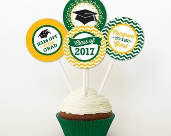 Graduation Cupcake Toppers, PRINTABLE, Green and Yellow, 2 and 2.25 Inch, Graduation Favor Tags, 2017