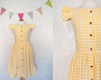1950s Dress / 50s Dress / Yellow Dress / Gingham Dress / Fit and Flare Dress / Vintage Inspired Dress / Small / Medium