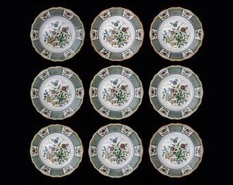 Set 9 French Sarreguemines Montmorency Dinner Plates - c. 1875 - 1900, France