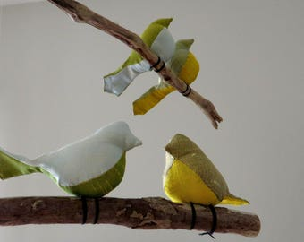 Customize Bird Mobile -  Iridescent Silk Dupioni Fabric Birds On Driftwood Branches - Made to order