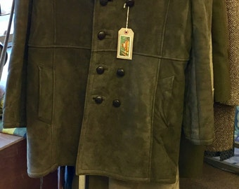 Vintage sheepskin coat 60s mod peacoat