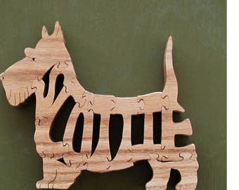 Scottie Pet Toy Interlocking Wood Puzzle Cut On Scroll Saw