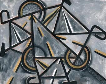 Tommervik Road Bikes Cycling Road Bike Ten Speed Bike Cycling Wall Art  Cubism Cyclist Bicycle Wall Art Print