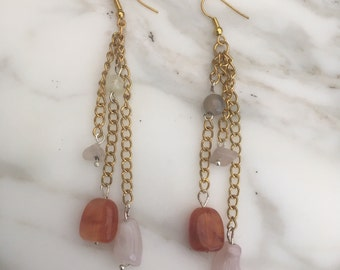 Gold Chain Earrings with Coloured Stones