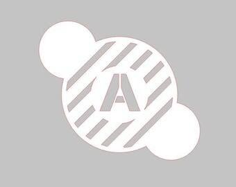 Cookie Stencil - 3 Inch Design - Stripes - Block Initial