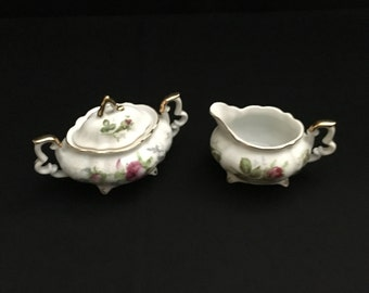 Vintage Rose Sugar and Creamer Set (NW-L-108 & 109)   (LDT6)