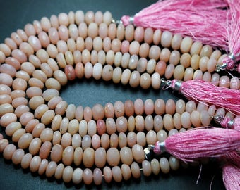 8 Inch Strand,Superb-Quality,Natural PERUVIAN PINK OPAL Faceted Rondelles,6-7mm size