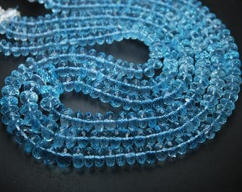 16 Inches Strand,Super Rare Item,Sky Blue Topaz Micro Faceted RONDELLS,6-6.5mm,Finest Quality