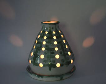Candle luminary - candle lantern - tea light lantern - pottery luminary - ceramic luminary  O174