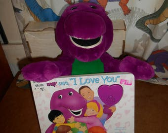"""BARNEY 12"""" Plush doll and I Love You Book w/sound."""