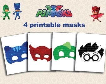 Instand DL - PJ Masks Printable masks party photo booth - Printable (NON Personalized)
