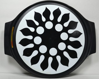 Black & White Rubbermaid LazySusan, ©1970 Stylized Abstract Sun w Polka Dots, Large Black Turntable, Retro MOD Psychedelic Serving Tray