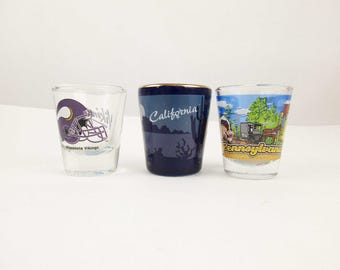 Your Choice - Shot Glasses - Minnesota Vikings, California OR Pennsylvanias - Collectible Barware - Great Gift