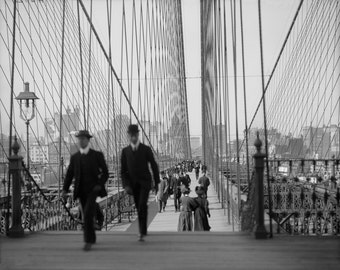 New York City, 1920, Brooklyn Bridge, central park, times square, Black & white, old, vintage antique, photography, picture, print, fine art