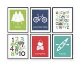 Camping Nursery Art, Number Art, Woodland Alphabet, ABC Art, Forest Decor, Outdoor Adventure, Woodland Nursery, Kayak Art, Mountain Bike Art