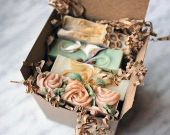 ART SOAP GIFT Set, Four Vegan Cold Process Soaps for Hand & Body