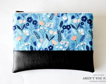 Cosmetic Bag, Clutch, Make-up Bag, Pouch, Floral, Modern, Cotton and Faux Leather by Aren't You Fancy!