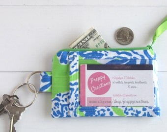 ID Wallet Keychain, Slim Womens Wallet, ID Holder Wallet, Thin Card Wallet, Lilly Pulitzer Fabric