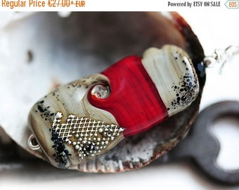 50%off SALE Red Pendant, Red, Black and Grey, Lampwork glass Pendant, Red jewelry, Red and Silver, Handmade Lampwork Jewelry, Minimalist, SR