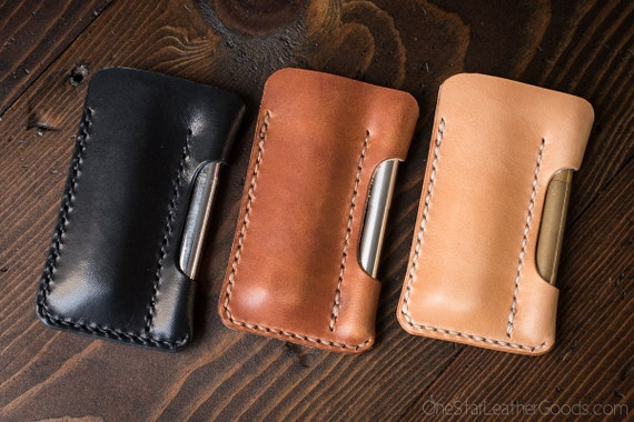 "EDC pocket knife and pen case ""the EDC1"" in USA harness veg tanned leather - black, brown or tan"