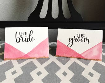 Watercolor handwritten wedding place cards / hand lettered escort cards / modern calligraphy - customizable!