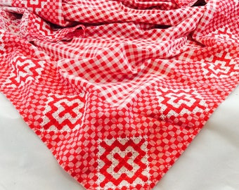 Vintage Red and White Gingham Tablecloth / 40 x 40 Red Gingham Embroidered Tablecloth
