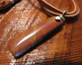 Red Creek Jasper. Leather & Sterling Silver Necklace Pendant Jewelry -Toniraecreations