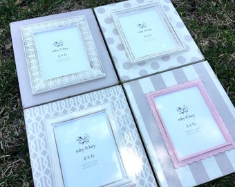 set of four custom painted wood distressed 8x10 frames | gray & white | portrait frames | gallery wall art decor | nursery frames |baby gift