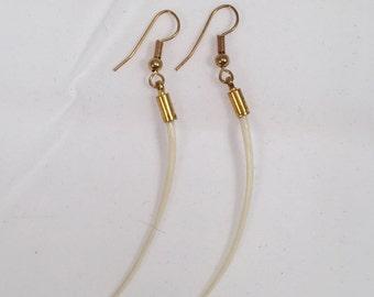Large Brass Snake Bone Dangle Earrings