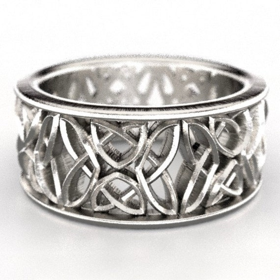 Celtic Wedding Ring With Laced Dara Knotwork Design in Sterling Silver, Made in Your Size CR-646b