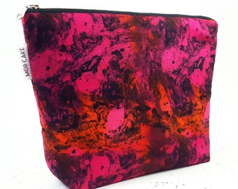 Red Makeup Bag Abstract, Cosmetic Bag, Makeup Organizer, Gift For Her, Birthday Gift, Gift For Teen