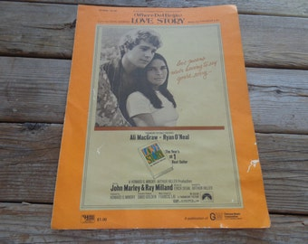 "Vintage 1971 ""Love Story"" - Where Do I Begin - Sheet Music - ""Love Means Never Having To Say You're Sorry"" - Vintage Sheet Music"