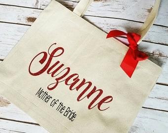 Custom Bridesmaid Tote, Bridesmaid Gift, Bridesmaid Gift Idea, Bridesmaid Bag, red wedding gift, Bride Team tote, Bride tote,