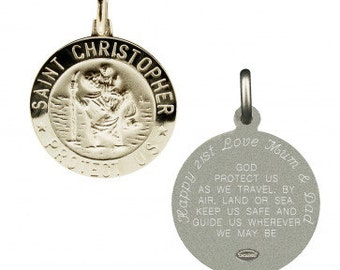 Silver St Christopher Medal with Travellers Prayer -Personalised Option- Saint Christopher pendant 21mm - Travelling Gift 18th 21st Birthday