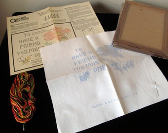 Vintage Copyright 1978 Artcraft Concepts Bee a Friend Cross-Stitch Kit As-New in Original Box Cross Stitch Sewing Hooking Sampler