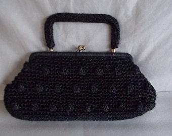 Vintage Black Straw And Bead Handbag