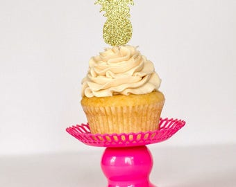 Pineapple Glitter Cupcake Toppers  Fiesta Flamingo Flamingo Pineapple Cupcake Toppers Glitter Cupcake Toppers Summer Party