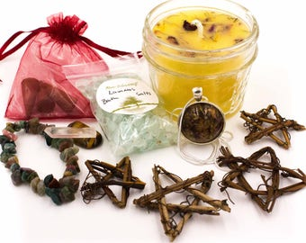 Lammas Altar Kit Sabbat Kit - Candle Gemstones Pendant Bracelet Bath Salts and incense Lughnasadh