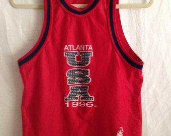 Vintage 1996 Atlanta Olympics Jersey Basketball Jersey Team USA - Made in the USA - Kids Jersey - Womens Crop Jersey