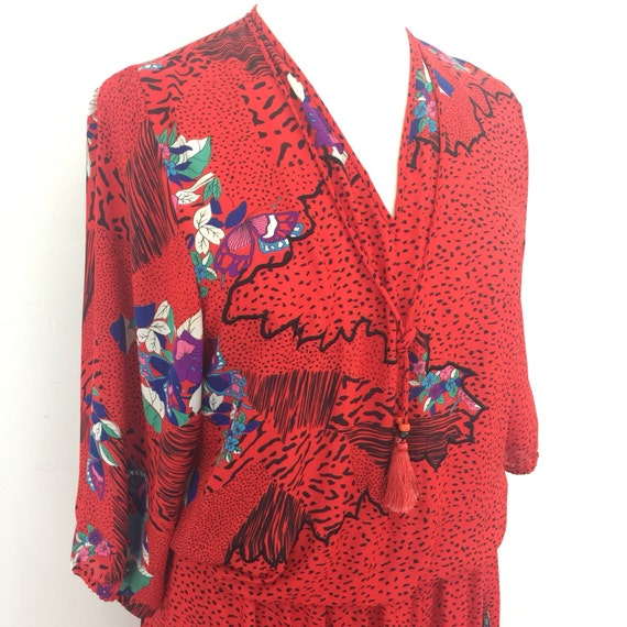 Vintage dress 1980s Diane Fres red drop waist 80s geometric print UK 14 animal print spotted avant garde tassell