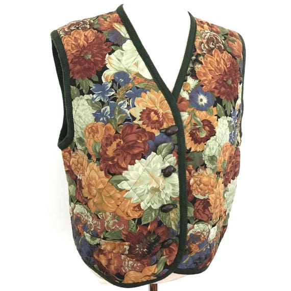 Vintage waistcoat quilted Cotton vest chintz 1980s rose print 70s UK 14 boho hippy Festival style folk country style 80s nu wave