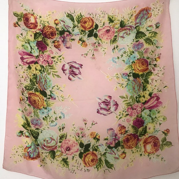1930s scarf scarf floral bouquet 30s 1940s silk flowers accessory headscarf pink 40s floral print