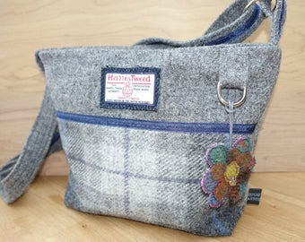 Grey checked Harris Tweed across the body bag