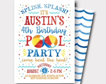 Pool Party Birthday Invitation | Summer Birthday Invitation | Swimming Birthday Invitation | Beach Ball Invitation | Beach Bash
