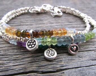Mother's Bracelet, Mother's Day Gift, Birthstone Charm Bracelet, Mom Charm Bracelet, Hill Tribe Silver Bracelet, Custom Birthstone Bracelet