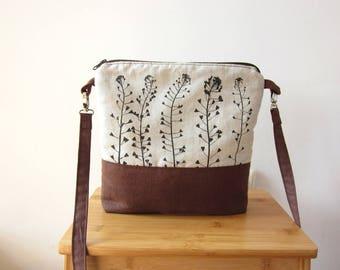 Wild grasses bag, Naturalistic handbag, Crossbody linen bag, Hand printed linen, linen bag, Every day bag, brown bag