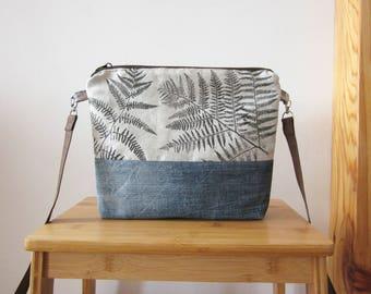 Ferns Crossbody bag, Hand printed bag, Ferns stamp, medium size handbag, Everyday bag, hand printed linen, Denim bag