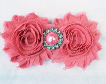 shabby hair clip, flower hair clip, women hair clip, rosette hair bow, dark coral shabby chic headband, girl hair accessory, girl headband