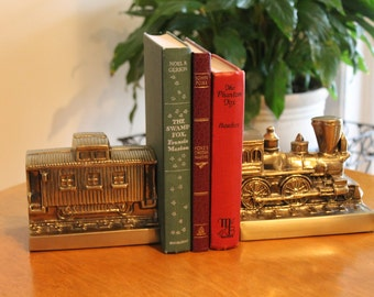 Vintage PM Craftsman Brass Train Engine Locomotive and Caboose Bookends